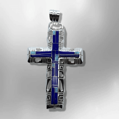 Sterling Silver Inlay different Stones Breathable Cross Pendant