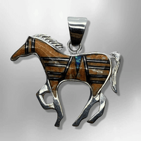 Sterling Silver Handmade Inlay Different Stones Medium Horse Shape Pendant - Kachina City