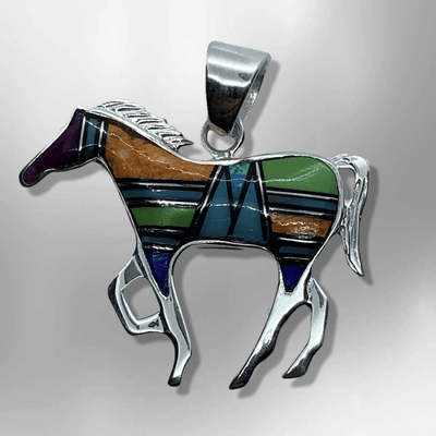 Sterling Silver Handmade Inlay Different Stones Medium Horse Shape Pendant