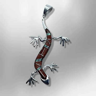 Sterling Silver Inlay Handmade Stones Flat Lizard Shape Pendant