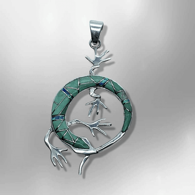Handmade Inlay Different Stones Sterling Silver Lizard Round Shape Pendant