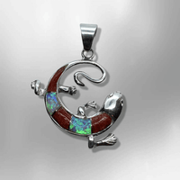 Sterling Silver Handmade Inlay Different Stones Lizard Round Shape Pendant - Kachina City