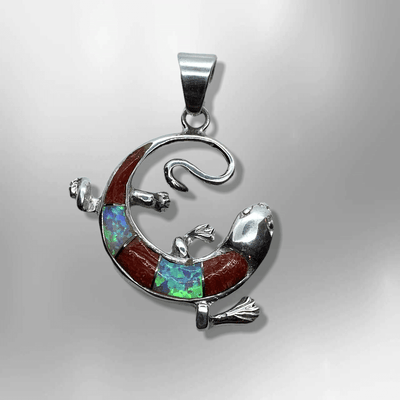 Sterling Silver Handmade Inlay Different Stones Lizard Round Shape Pendant