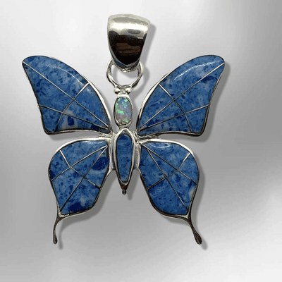 Sterling Silver Inlay Different Stones Medium Butterfly Shape Pendant