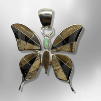 Sterling Silver Inlay Different Stones Medium Butterfly Shape Pendant - Kachina City