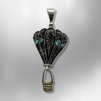 Sterling Silver Inlay Handmade Stones Hot Air Balloon Shape Pendant - Kachina City