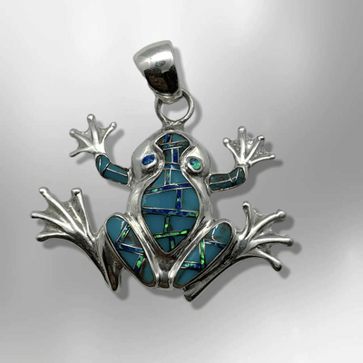 Sterling Silver Handmade Inlay Different Stones Frog Shape Pendant