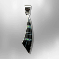 Sterling Silver Inlay Handmade Different Stones Shells Sword Shape Pendant - Kachina City