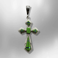 Sterling Silver Inlay Different Stones Saint Cross Shape Pendant - Kachina City
