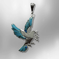 Sterling Silver Handmade Inlay Different Stones Dove Leaves Shape Pendant - Kachina City