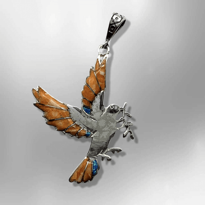 Sterling Silver Handmade Inlay Different Stones Dove Leaves Shape Pendant