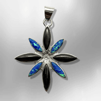 Handmade Inlay Different Stones Sterling Silver Flower Star Shape Pendant - Kachina City