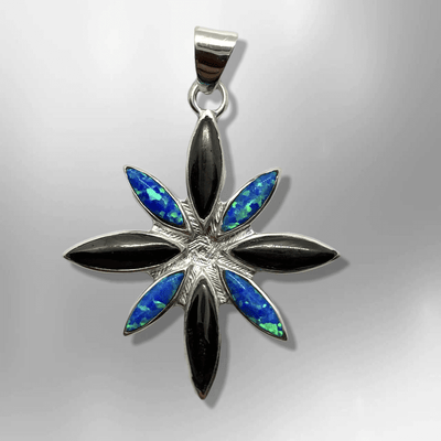 Handmade Inlay Different Stones Sterling Silver Flower Star Shape Pendant