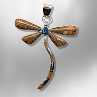 Sterling Silver Inlay Handmade Different Stones Large Dragonfly Pendant - Kachina City