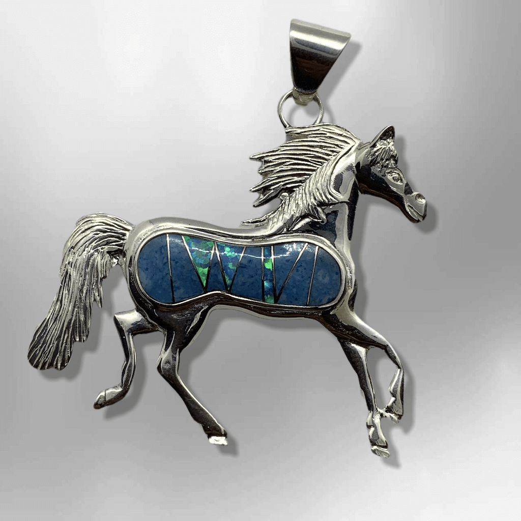 Sterling Silver Handmade Inlay Different Stones Large Horse Pendant - Kachina City