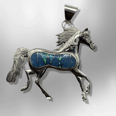 Sterling Silver Handmade Inlay Different Stones Large Horse Pendant