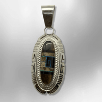 Sterling Silver Handmade Inlay Different Stone Long Oval Thick Pendant - Kachina City