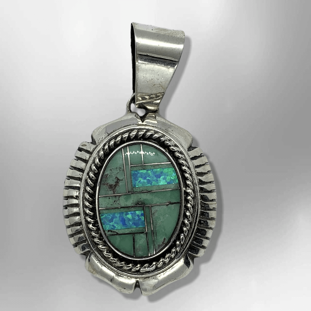 Sterling Silver Handmade Inlay Round Oval Gaspeite and Opal Pendant - Kachina City