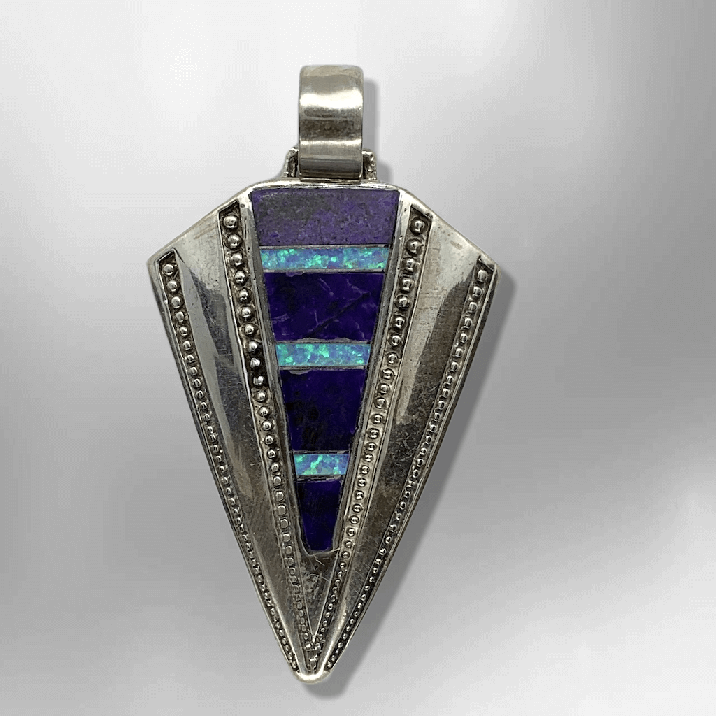 Sterling Silver Handmade Inlay Sugilite with Opal Arrowhead Design Pendant - Kachina City