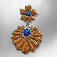 Sterling Silver Handmade Inlay Stone with Opal Two Part Flower Shape Pendant - Kachina City