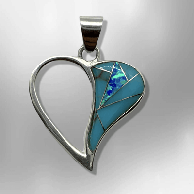 Sterling Silver Half Inlay Half Hollow Different Stones Heart Shape Pendant