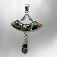 Sterling Silver Handmade Inlay Different Stone Space Ship Teardrop Two Part Pendant - Kachina City