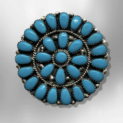 Navajo Handmade Sterling Silver Round Cluster Turquoise Pin and Pendant