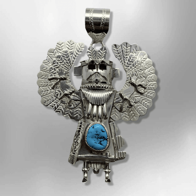 Sterling Silver Navajo Handmade Large Natural Turquoise Apache Kachina Shape Pendant