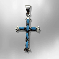 Sterling Silver Handmade Needlepoint Stone Turquoise Coral Cross Shape Small Pendant - Kachina City