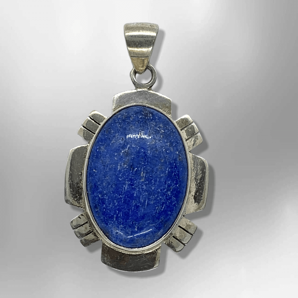 Sterling Silver Inlay Handmade Denim Lapis Stone Round Oval Pendant - Kachina City