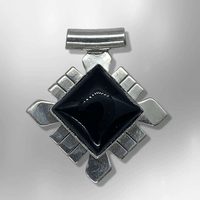 Sterling Silver Inlay Black Onyx Diamond Shape One piece Pendant - Kachina City