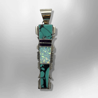 Sterling Silver Navajo Handmade Inlay Different Stones Long Arrowhead Pendant - Kachina City