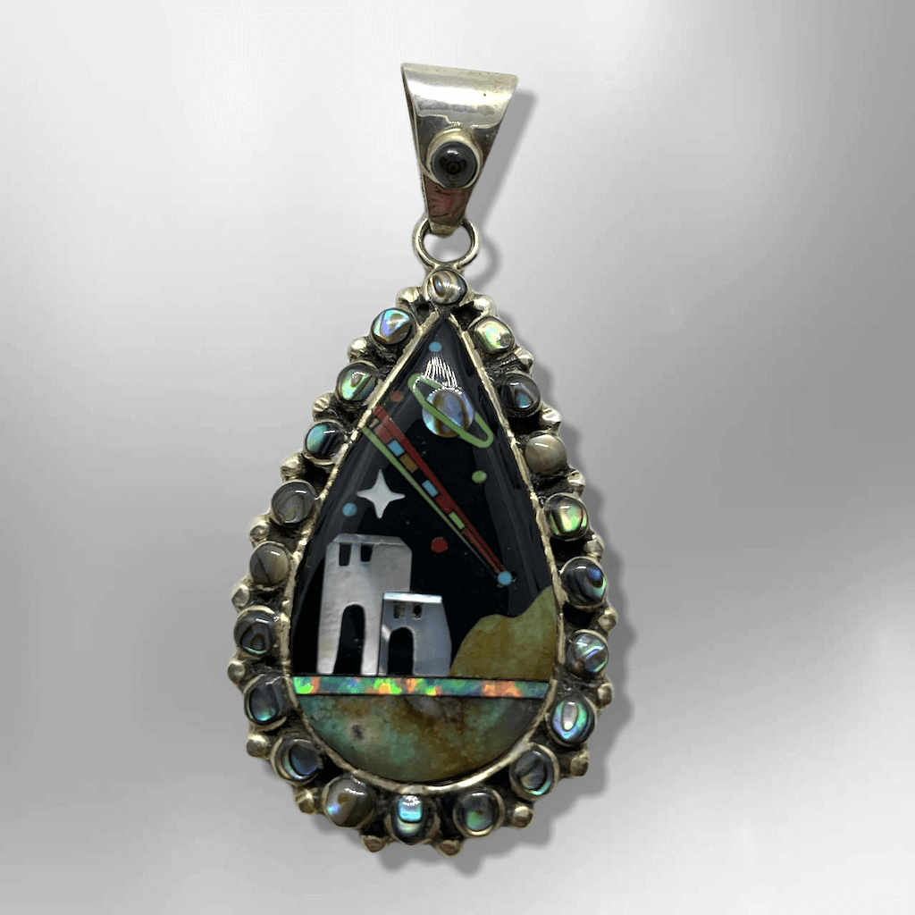 Sterling Silver Handmade Inlay Teardrop Shape Pueblo Abalone Shell Pendant - Kachina City