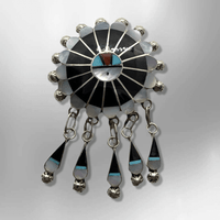 Sterling Silver Zuni Handmade Inlay Multi-Stone Round Sun Face Dangle Pin & Pendant - Kachina City