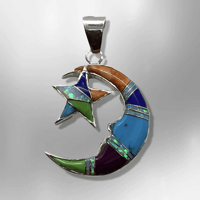 Sterling Silver Inlay Handmade Different Stones Star and Crescent Shape Pendant