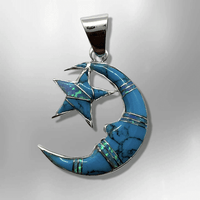 Sterling Silver Inlay Handmade Different Stones Star and Crescent Shape Pendant - Kachina City