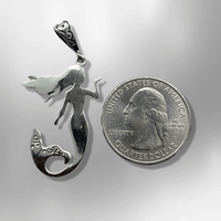 Inlay Multiple Stones Sterling Silver Mermaid Shape Pendant - Kachina City