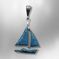Sterling Silver Inlay Different Stones Shells Sailboat Shape Pendant - Kachina City