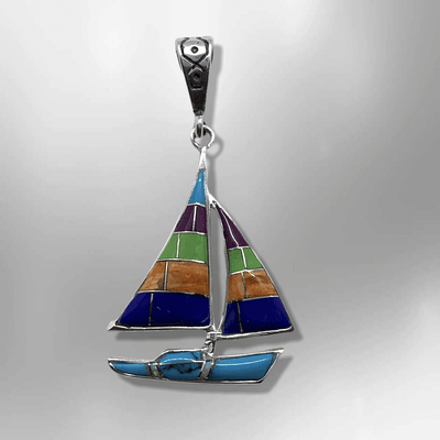 Sterling Silver Inlay Different Stones Shells Sailboat Shape Pendant
