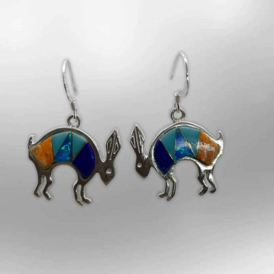 Sterling Silver Handmade Inlay Different Stones Jumping Rabbit Shape Hook Earrings