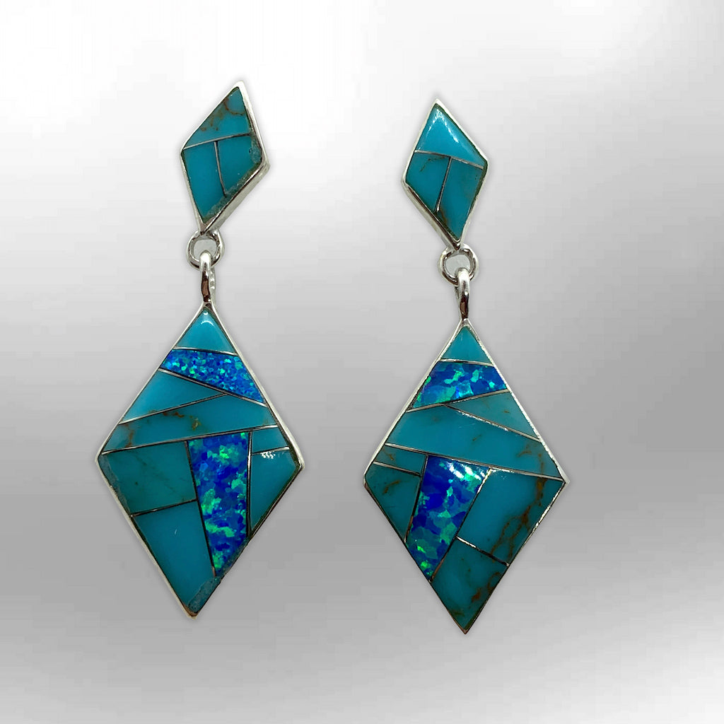 Sterling Silver Inlay Stone Rhombus Kite Shape Post Dangle Earrings - Kachina City