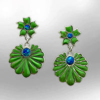 Sterling Silver Handmade Inlay Stone with Opal Two Part Flower Shape Hook Earrings - Kachina City