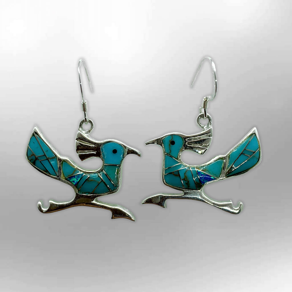 Sterling Silver Handmade Inlay Multi-Stone with Opal Roadrunner Hook Earrings - Kachina City