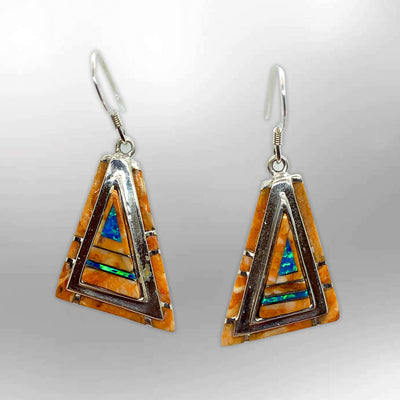 Handmade Inlay Stones Sterling Silver Triangle Shape Thick Hook Earrings
