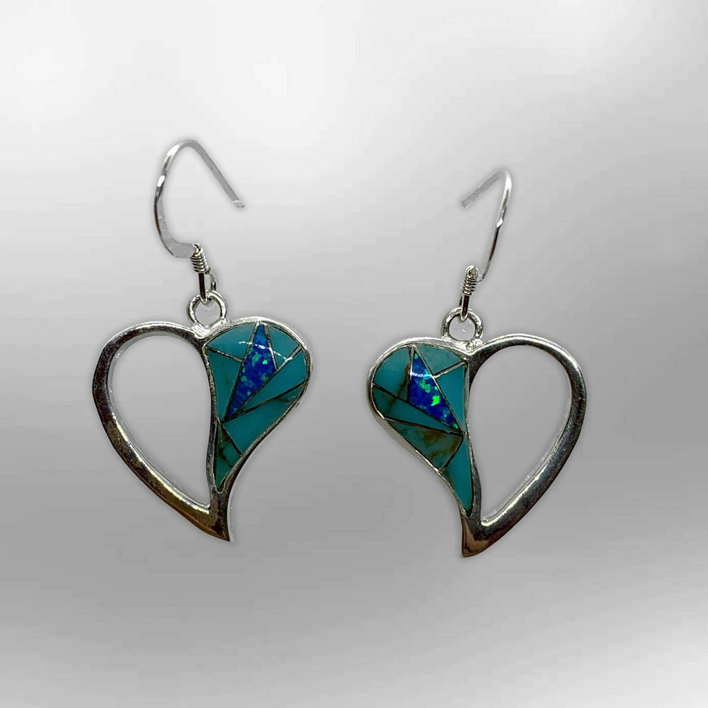 Sterling Silver Half Inlay Half Hollow Different Stones Heart Shape Hook Earrings - Kachina City