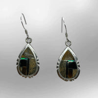 Sterling Silver Handmade Inlay Different Stones Teardrop Shape Hook Earrings - Kachina City