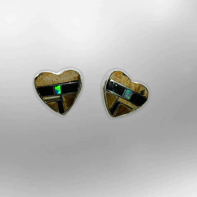 Sterling Silver Handmade Inlay Stones Heart Shape Small Stud Earrings
