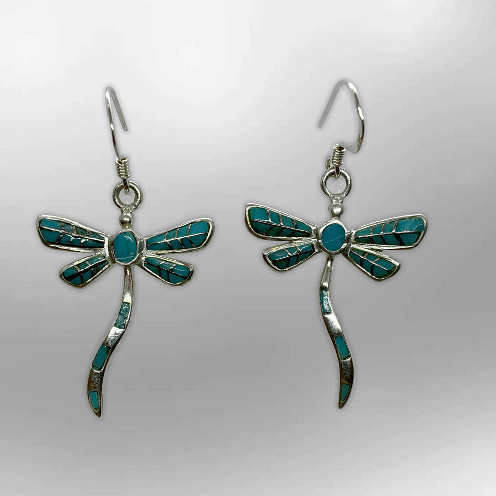Sterling Silver Small Inlay Different stones with Opal Dragonfly Hook Earrings - Kachina City