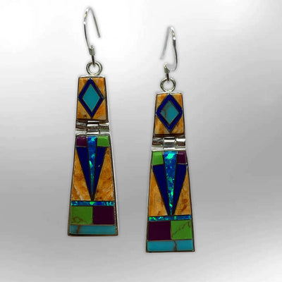 Handmade Inlay Sterling Silver Different Stones Foldable Slap Hook Earrings