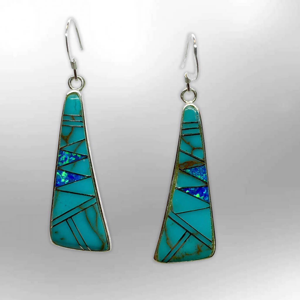 Sterling Silver Inlay Different Stones With Opal Slap Hook Earrings - Kachina City